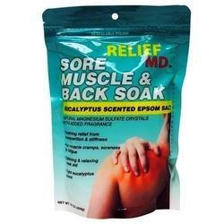 RELIEF Sore Muscle & Back Soak -Eucalyptus Scented Epsom Salt 1lb (Herbal Salt Scented Bath)