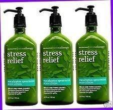 Bath Body Works Aromatherapy Stress Relief Eucalyptus Spearmint Lotion 6.7 Fl Oz Each 3 Pack