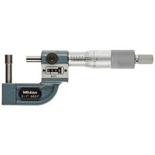 Mitutoyo 295-313 Tube Micrometer, Mechanical Counter Model, Ratchet Stop, 0-1″ Range, 0.0001″ Graduation, +/-0.00015″ Accuracy, 4.8mm Dia. Spherical Tip