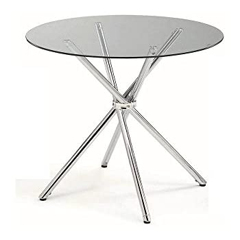 Amazoncom Moes Home Collection Inch Redondo Glass Dining - Metal round dining table