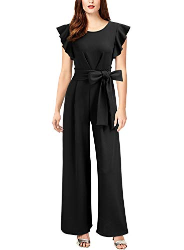 Formal Pant Suit - Knitee Women's Sleeveless Ruffle Shoulder High Waist Wide Leg Rompers Jumpsuit,Large,Black