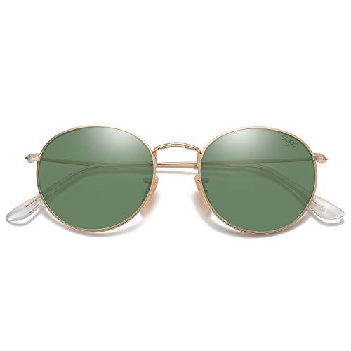 SOJOS Small Round Polarized Sunglasses Mirrored Lens Unisex Glasses SJ1014 3447 with Gold Frame/G15 Polarized Lens