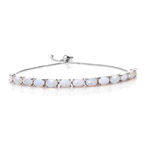 Opal Bracelets Oval (925 Sterling Silver Platinum Plated Oval White Opal Bolo Bracelet)
