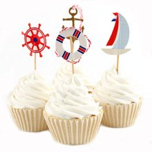 Nautical Theme Cupcake Toppers Picks Sailboat Birthday Party Supplies Favors Pack of -
