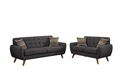 Poundex F6913 Bobkona Sonya Linen-Like 2 Piece Sofa and Loveseat Set, Ash Black (Poundex Set Loveseat)