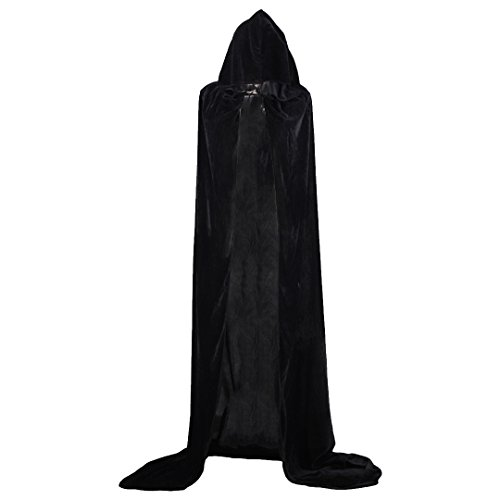 Ccassie Velvet Unisex Full Length Halloween Long Capes Christmas Party Cape Role Cape Cosplay Costumes Masquerade Cloak Hooded(B-170) (Black Velvet Capes For Womens)