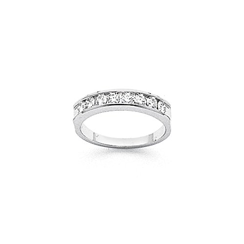 14k White Gold Fine Diamond Channel Band (Color H-I, Clarity SI2-I1) by Jewelry Pot