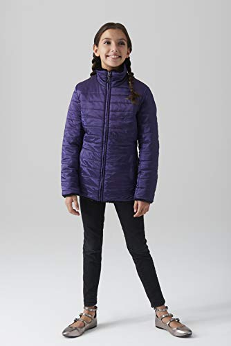 Gallery Girls' Big Casual Mid Length Reversible Quilted Parka, Purple Large