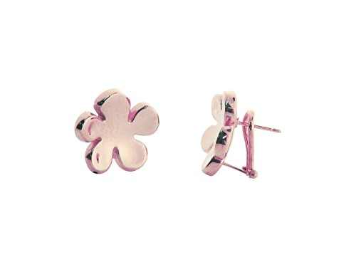 Fronay Co .925 Sterling Silver Electroformed Mirror Finish Flower Clip Earrings dipped in Rose Gold