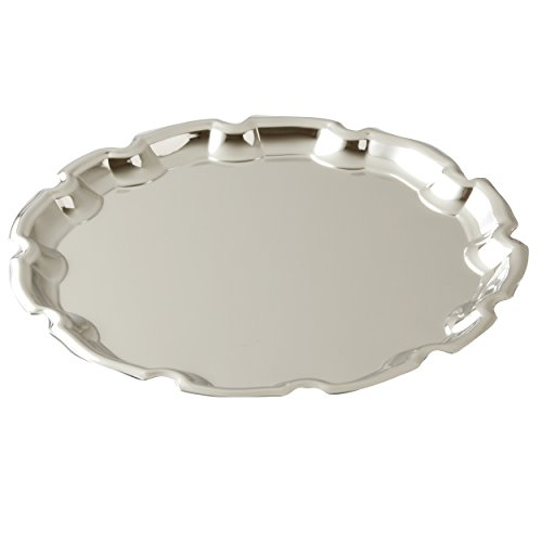 Elegance Silver Round Chippendale Tray 10