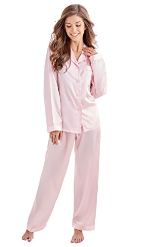 TONY AND CANDICE Women's Classic Satin Pajama Set Sleepwear Loungewear (Small, Light Pink) (Womens Sets Pajamas Pink)