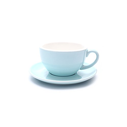 Coffeezone Double Espresso Coffee Cup and Saucer Free Pour Coffee or Small Cappuccino, New Bone China for Coffee Shop and Barista (Glossy Light Blue, 5 oz)