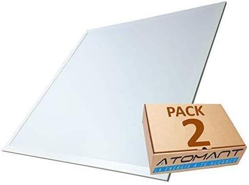 Pack 2x Luminaria Panel LED 60x60 cm, 40W Ultrafino. Color Blanco Frio (6500K). Idoneo Techo Modular. 3200 Lumenes. A++