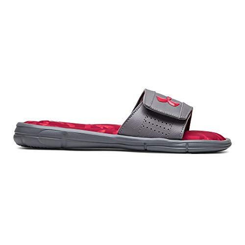 (Under Armour Boys' Ignite Impact V Slide Sandal, Steel (101)/Aruba Red, 4 M US Big Kid)