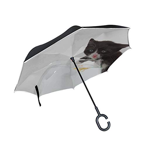 Rh Studio Inverted Umbrella Rain Sun Car Reversible Umbrella Cat Tongue Fish Aquarium White Background Large Double Layer Outdoor Upside Down Umbrella with Women with Uv Protection C-Shaped Handle