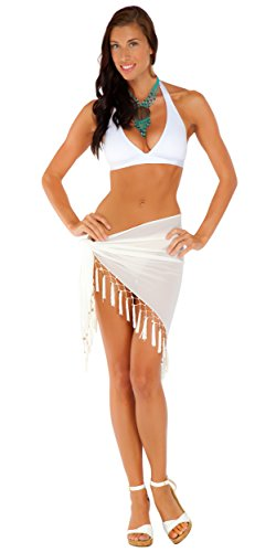 - 1 World Sarongs Womens Sheer Swimsuit Cover-Up Sarong in White