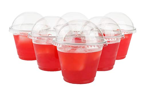 GOLDEN APPLE, 9oz-25sets. Clear Plastic Cups with no Holes Dome lids ()