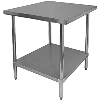 Incroyable GSW Commercial Flat Top Work Table With Stainless Steel Top, 1 Galvanized  Undershelf U0026 Adjustable