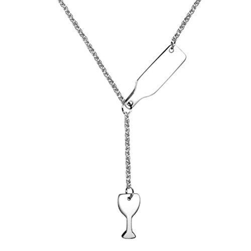 - PAURO Women's Stainless Steel Wine Bottle Beer Cup Pendant Y Necklace, Silver