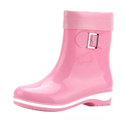 LvRao Women Girls Wellies Autumn Winter Warm Detachable Thicken Garden Rain Snow Shoes Ankle Rubber Booties Pink Xo6CK