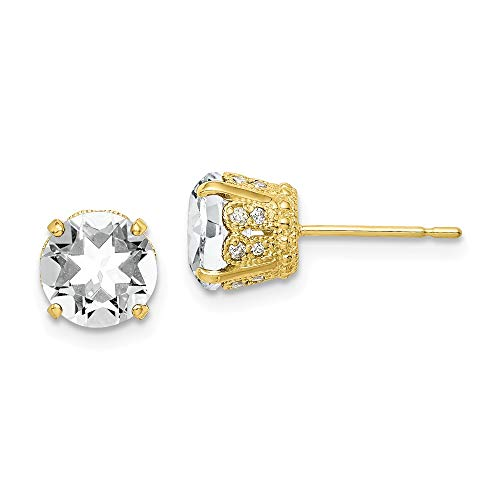 10k Yellow Gold Diamond Lab Created White Sapphire Post Stud Earrings Birthstone April Gemstone Fine Jewelry Gifts For Women For Her ()