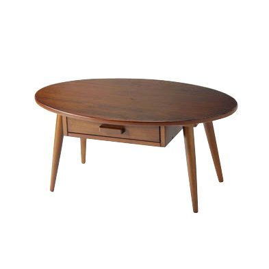 岩附 オーバルフレーム テーブル (スモール)【引き出し付き インテリアテーブル】 幅80×奥行48の画像