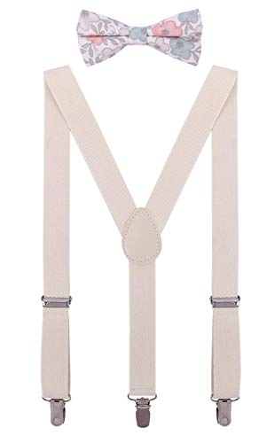 (ORSKY Mens' Suspenders Adjustable Y Back with Linen Bow Tie Set 47 Inches Beige)
