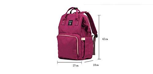 Versión coreana de la mamá de la moda bolsa de hombro bolsa de múltiples funciones de gran capacidad de la madre bolso mochila madre bolsa de bebé ( Color : Red+beige ) Red+white