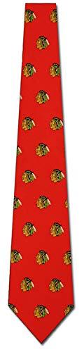 Necktie Logo Silk Ties (Chicago Blackhawks Printed Prep Silk Neck Tie NHL Hockey Team Logo)
