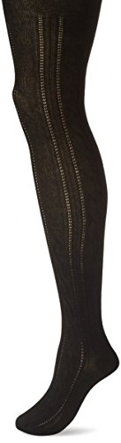 Hue Ribbed Tights (HUE Women's Cable Sweater Tights, Black, M/L)