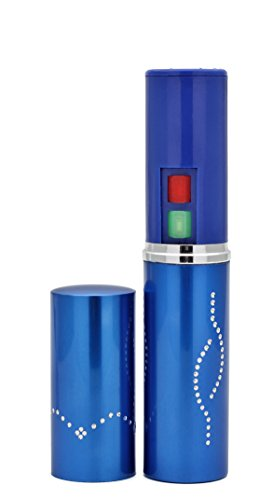 (Foxfend Spark Lipstick Stun Gun Women Self Defense Bright Led Flashlight - Rechargeable Battery (Blue))