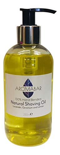 natürliches Rasieröl 250ml Lavendel, Geranie & Zitrone Öl vor der Rasur 100% pur mit Pumpe Spender oder GEBRAUCH ALS EIN Aftershave Feuchtigkeits Unisex