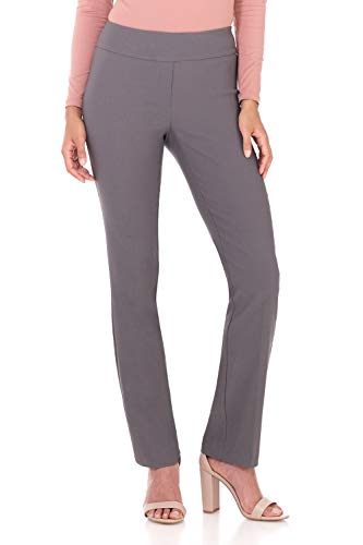 - Rekucci Women's Ease in to Comfort Straight Leg Pant with Tummy Control (12,Graphite)