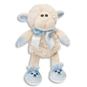 Amazon super soft baby boy lamb plush 7 with blue bow super soft baby boy lamb plush 7quot with blue bow slippers its negle Choice Image