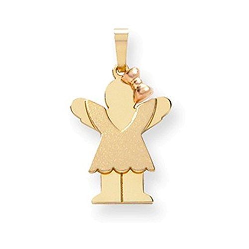 14k Two-Tone Small Girl with Bow on Right Engravable Charm by Jewelry Adviser Charms