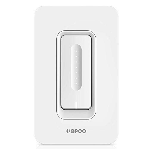 LOPOO Smart Dimmer Light Switch WiFi Dimmer Switch Lighting Control from Anywhere 400W Incandescent/150W LED Dimmer Works with Alexa and Google Home, No Hub Required, App Control with Timer and Group by LOPOO