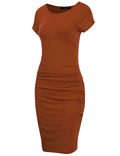 (A.F.Y Women's Ruched Side Midi Fitted Bodycon Dress RST L Rust)