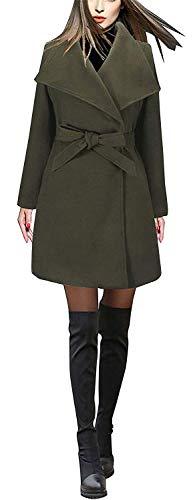 Manches Manteau Longues Casual BIRAN Coat Grn Outerwear Revers Parka Printemps Femme Automne avec breal Unicolore Vintage Ceinture Trench Mode Elgante Longues pO5qOPx6