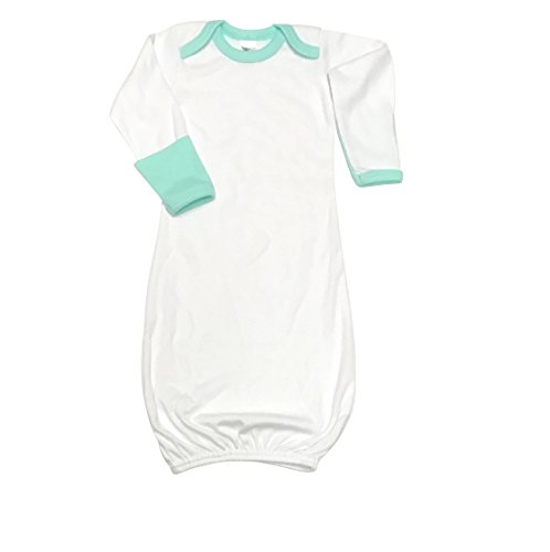 Laughing Giraffe Baby Long Sleeve Sleeper Gown with Fold Over Mittens - Ringer White w/Mint 0-3M