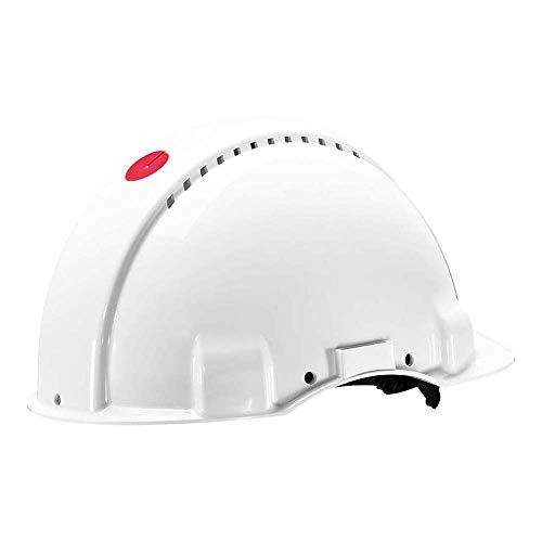 3M G3000 Casco de seguridad blanco con ventilación, arnés de ruleta y banda sudor de plástico (1 casco/caja): Amazon.es: Industria, empresas y ciencia