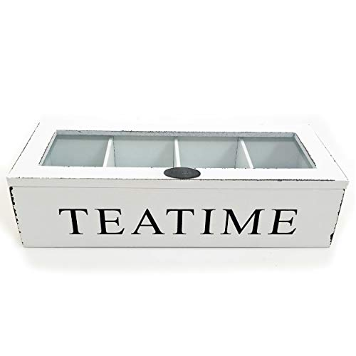 Whole House Worlds, Tea Time Chest, 10 3/4 x 4 1/4 x 2 3/4 Inches, Distressed Wood, Glass Top, 4 Compartments, Rustic White from WHW Whole House Worlds
