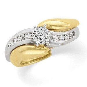 Ann Harrington Jewelry 14k 2-tone 1/4 Ct Tw Diamond Engagement Ring, Semi Mounting Wedding Set