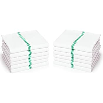 "Dish Towels (12 Units) - Commercial Kitchen Towels - Absorbent 100% Cotton Herringbone (14""x25"") - Commercial Quality: 24 oz/dz - Premia Classic Tea Towels in Green Stripes - Low Lint"