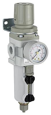 "PneumaticPlus SAW300-N03BG-MEP Compressed Air Filter Regulator Piggyback Combo 3/8"" NPT - Metal Bowl, Manual Drain, Bracket, Gauge"