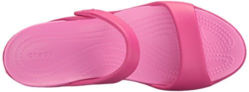 Crocs Cleo V Sandal W Cpk/Ptpk, Sandalias con Cuña para Mujer Rosa (Candy Pink/Party Pink)
