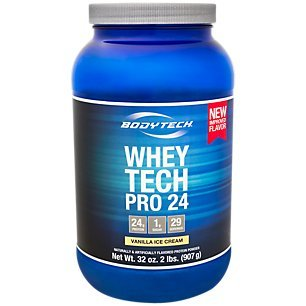 Vanilla Ice Cream Cups - BodyTech Whey Tech Pro 24 Protein Powder Protein Enzyme Blend with BCAA's to Fuel Muscle Growth Recovery, Ideal for PostWorkout Muscle Building Vanilla Ice Cream (2 Pound)