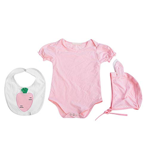 Baby Jumpsuit, Girl's Bodysuit Radish Saliva Towel Lotus Leaf Sleeve Infant Conjoined Tri Suit Solid Color(80)
