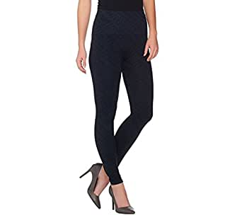Spanx Double Layer Waist Seamless Printed Slim Leggings Navy Tred S New A284226