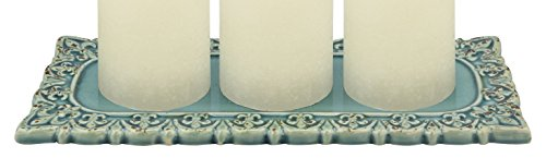 Stonebriar SB-5162A Distressed Turquoise Fleur De Lis Ceramic Rectangle Candle Plate