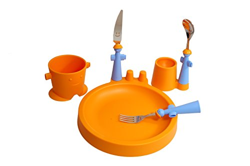 Rivadossi Puppet Club Set with Mug, Plate, Egg Cup and Cutlery, Orange -